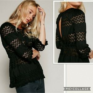 Free People Fire Island Black Lace Top